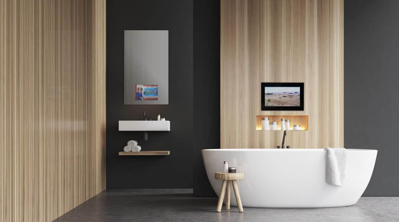 Spejl Tv ved badekar og håndvask